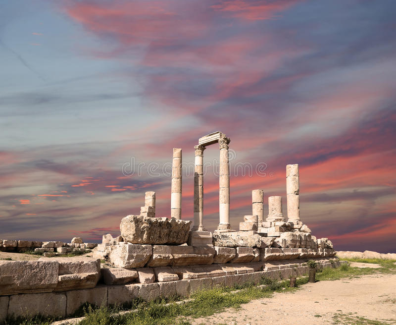 Tempel van Hercules, Amman, Jordanië stock foto