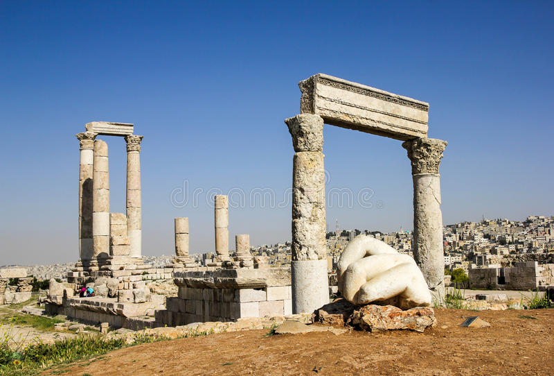 Tempel van Hercules, Amman, Jordanië stock foto's