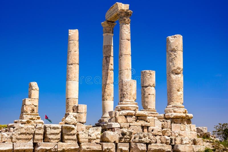 Tempel van Hercules bij Amman Citadel in Amman, Jordani? royalty-vrije stock foto