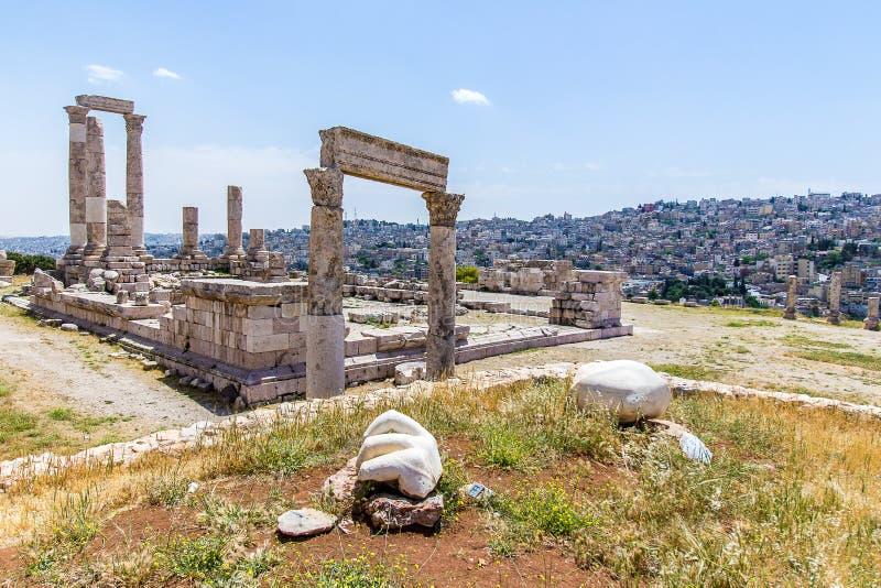 Tempel van Hercules, bij de Amman Citadel, Amman, Jordanië royalty-vrije stock foto
