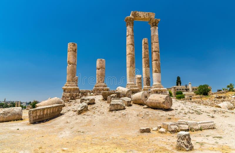 Tempel van Hercules bij de Amman Citadel, Jabal al-Qal ` a stock afbeelding