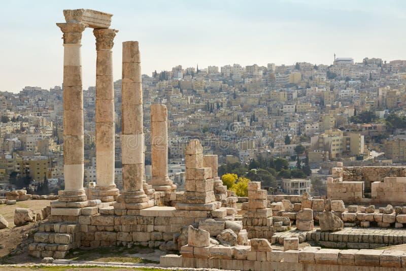 Tempel van hercules op de Amman citadel, Jordanië royalty-vrije stock fotografie