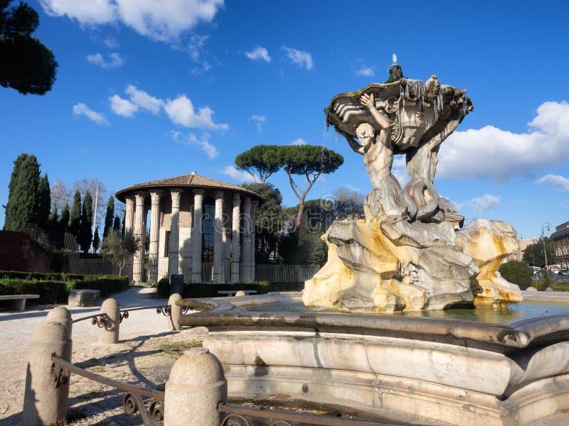 Tempel van Hercules Victor in het Forum Boarium in Rome met royalty-vrije stock afbeeldingen