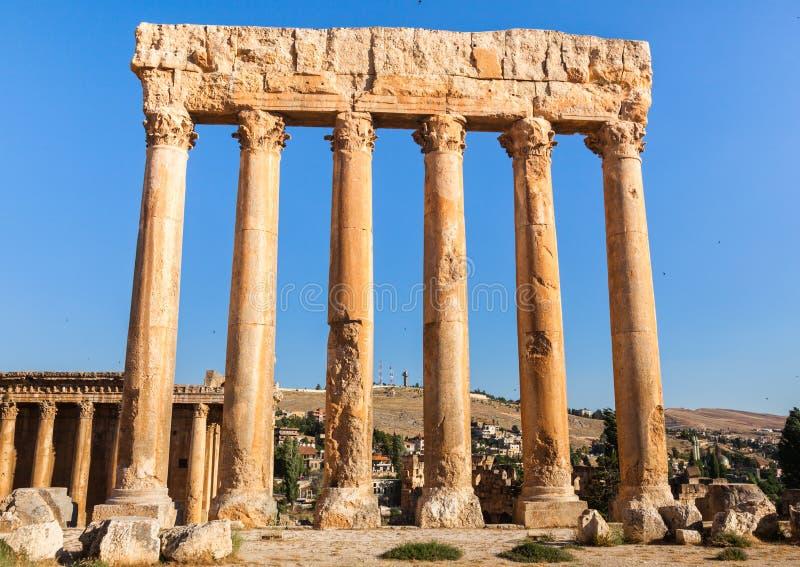 Tempel van Jupiter in de oude Roman ruïnes van Baalbek, Bekaa-Vallei van Libanon stock fotografie