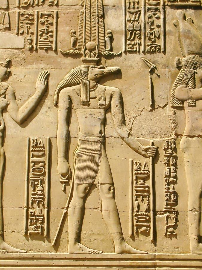 Tempel van Kom Ombo, Egypte: Sobek - de krokodil-geleide god van t stock afbeeldingen