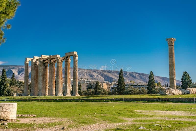 Tempel van olympian zeus, Athene stock foto's