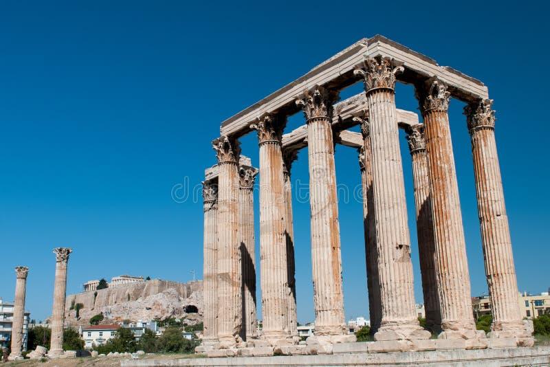 Tempel van Olympian Zeus, Athene Griekenland royalty-vrije stock foto's