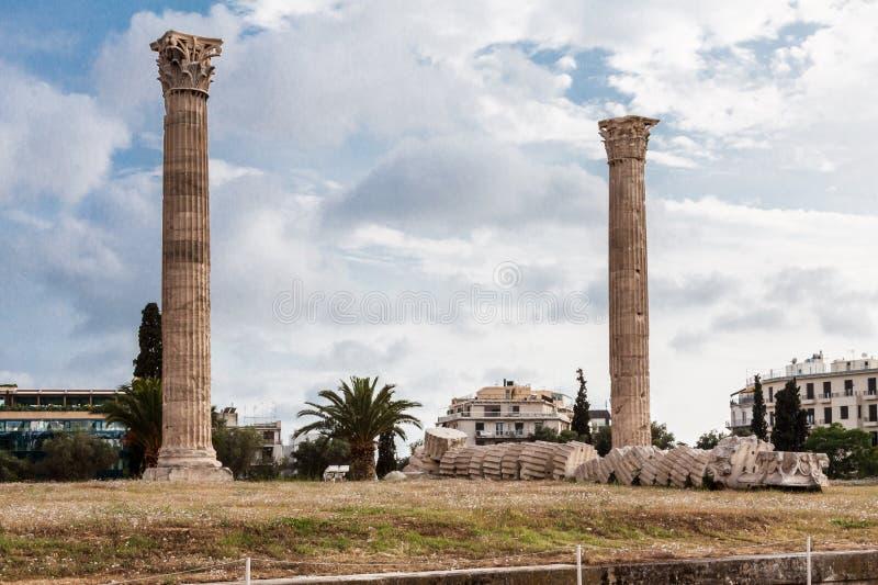 Tempel van Olympian Zeus Athens royalty-vrije stock foto