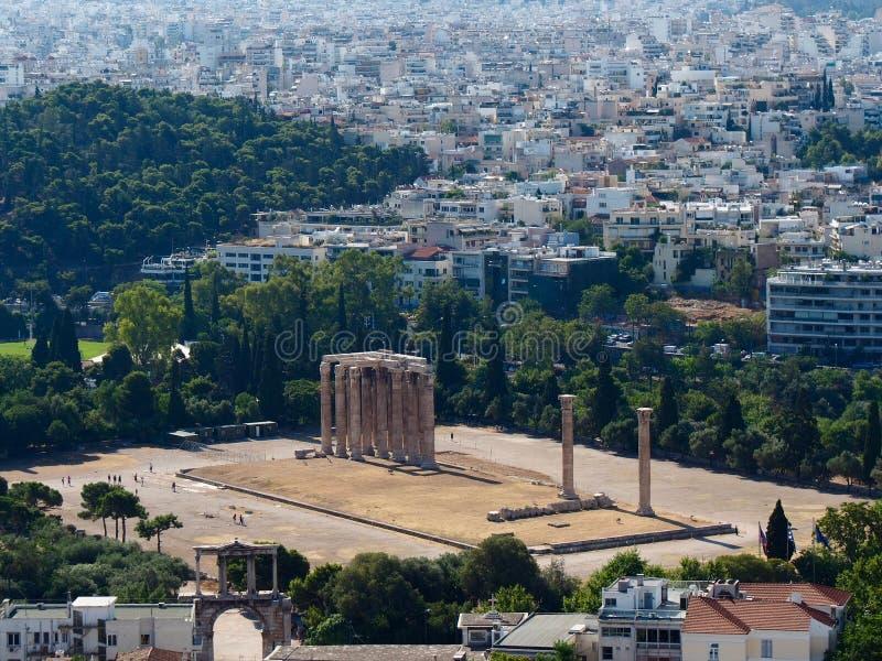 Tempel van Olympian Zeus Ruins stock afbeeldingen