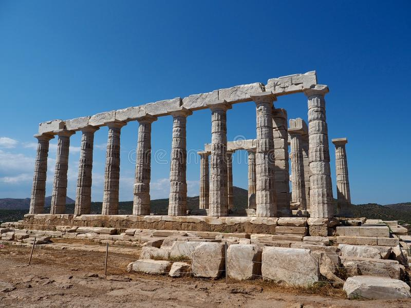 Tempel van Poseidon bij Kaap Sounion stock afbeelding