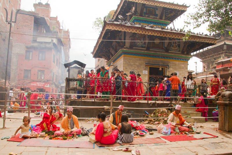Tempel van Teej-festival, Durbar-Vierkant, Katmandu, Nepal royalty-vrije stock afbeelding