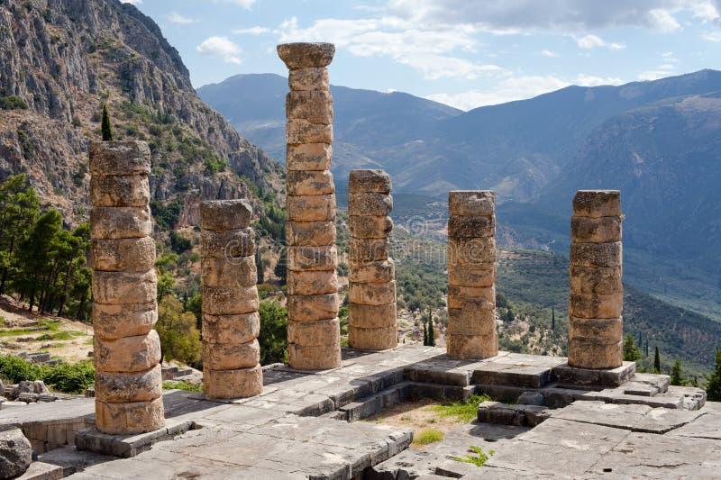 Tempel von Apollo, alte archäologische Fundstätte von Delphi lizenzfreie stockfotografie