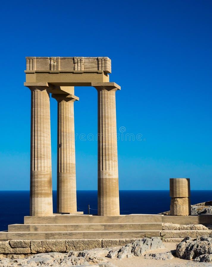 Tempel von Athena Lindia auf Rhodos-lsland stockbilder