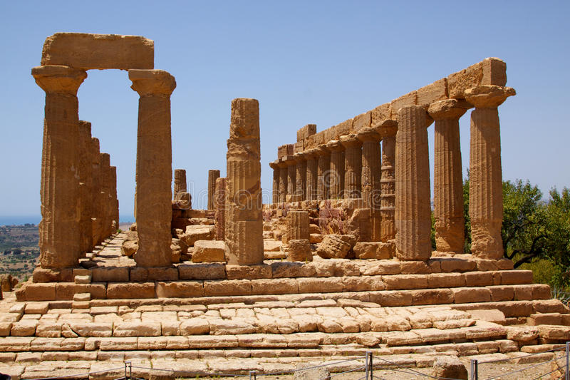 Tempel von Juno Lacinia Agrigent 1 stockbild