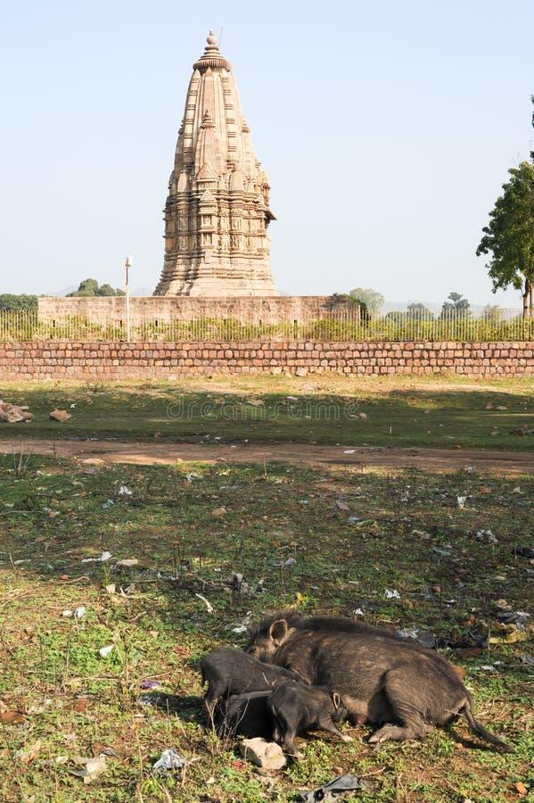 Tempel von Khajuraho auf Indien stockfotografie