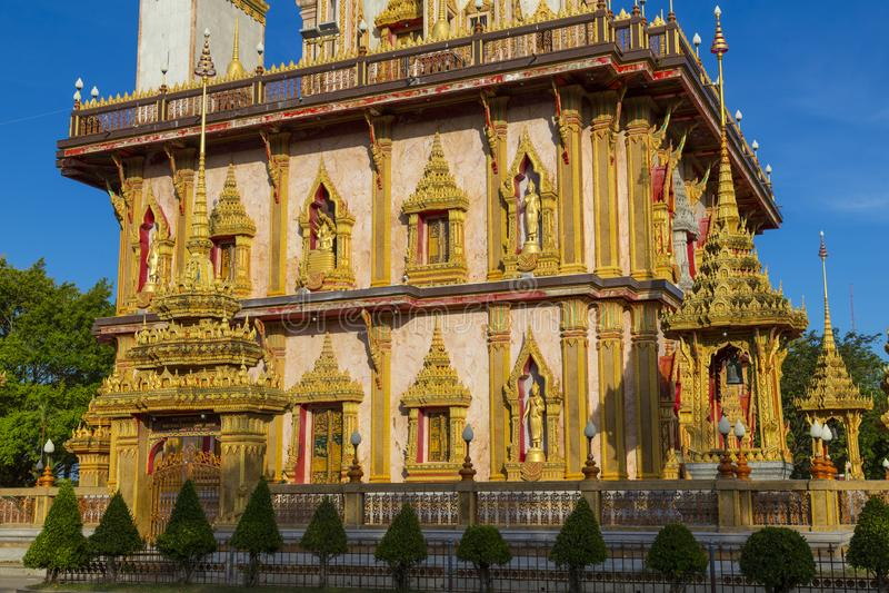Tempel Wat Chalong, Phuket thailand royalty-vrije stock foto's