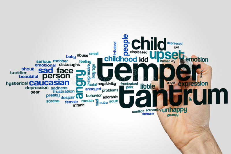 Temper tantrum word cloud stock photos