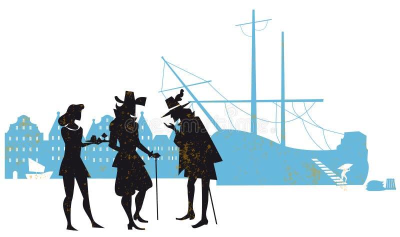 Tempera a empresa do leste do século XVII de india dos comerciantes ilustração royalty free