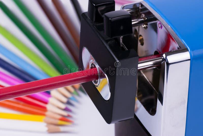 Temperamatite e matite manuali immagine stock