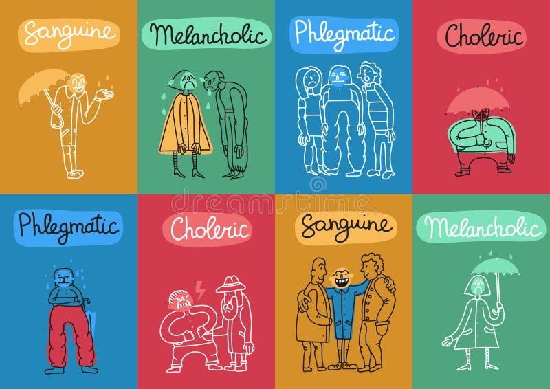 A temperamento datilografa o grupo de cartões ilustração stock