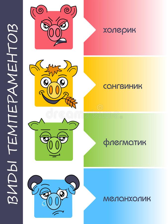 Temperaments set personality types russian royalty free illustration