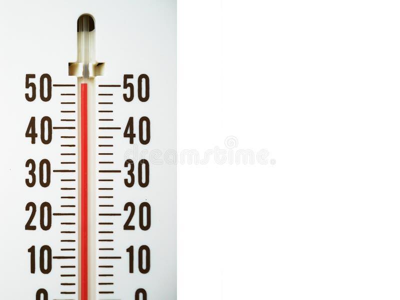 Temperatur för Closeuptermometervisning i celsiusa grader royaltyfri fotografi