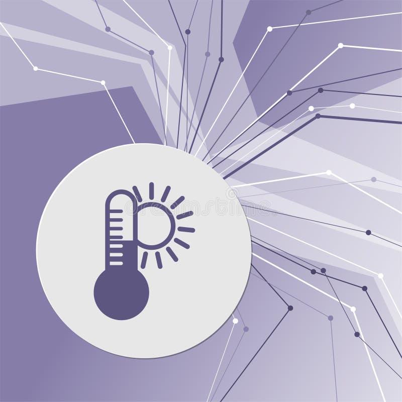Temperatur medicintermometer, väderklimatsymbol på modern bakgrund för lilaabstrakt begrepp Linjerna sammanlagt riktningar Med ro royaltyfri illustrationer