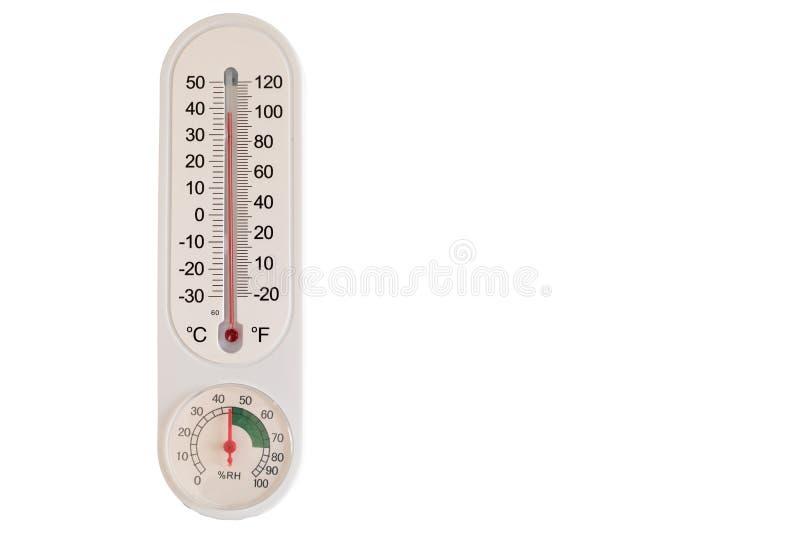 Temperatur och fuktighet för termometervisning omgivande Isolerat med vit bakgrund fotografering för bildbyråer