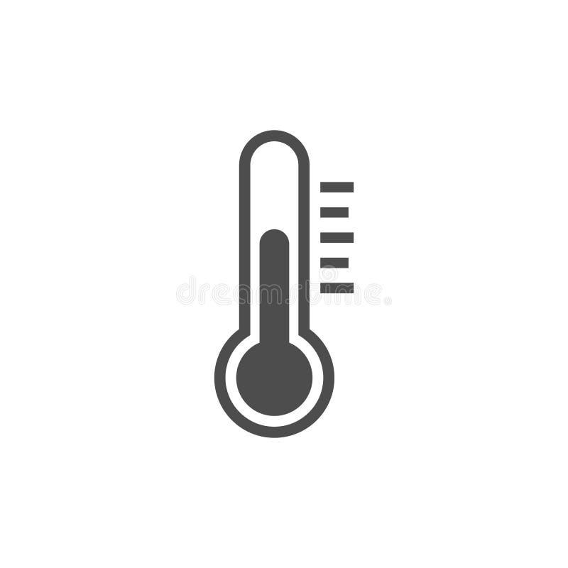 Temperatura, ícone do termômetro, ilustração do vetor Projeto liso ilustração stock