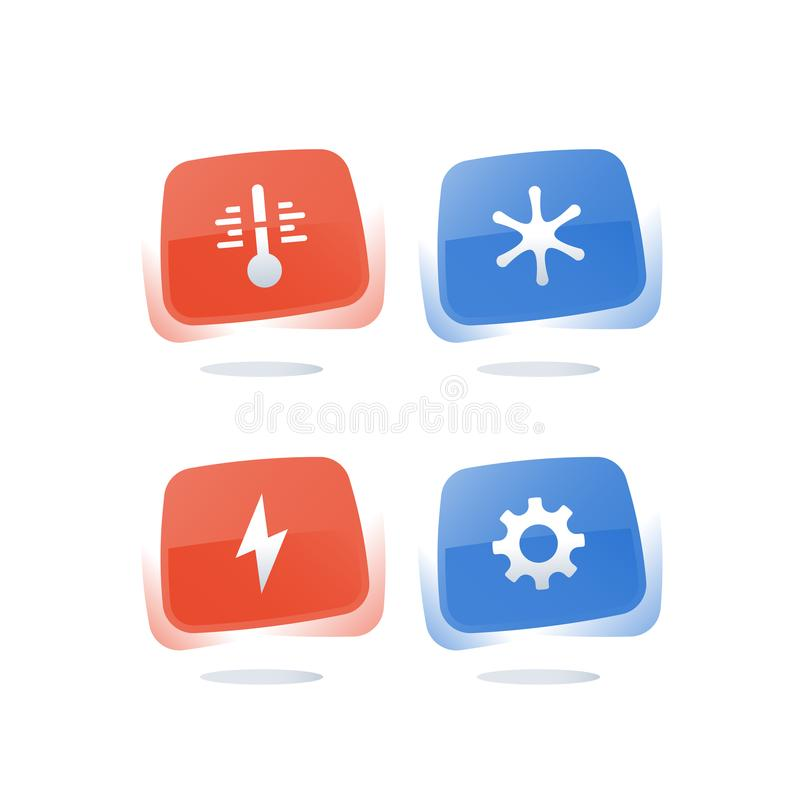 Temperatura calda e fredda di raffreddamento e di riscaldamento di concetto, condizionamento d'aria, controllo di clima, bottone  illustrazione di stock