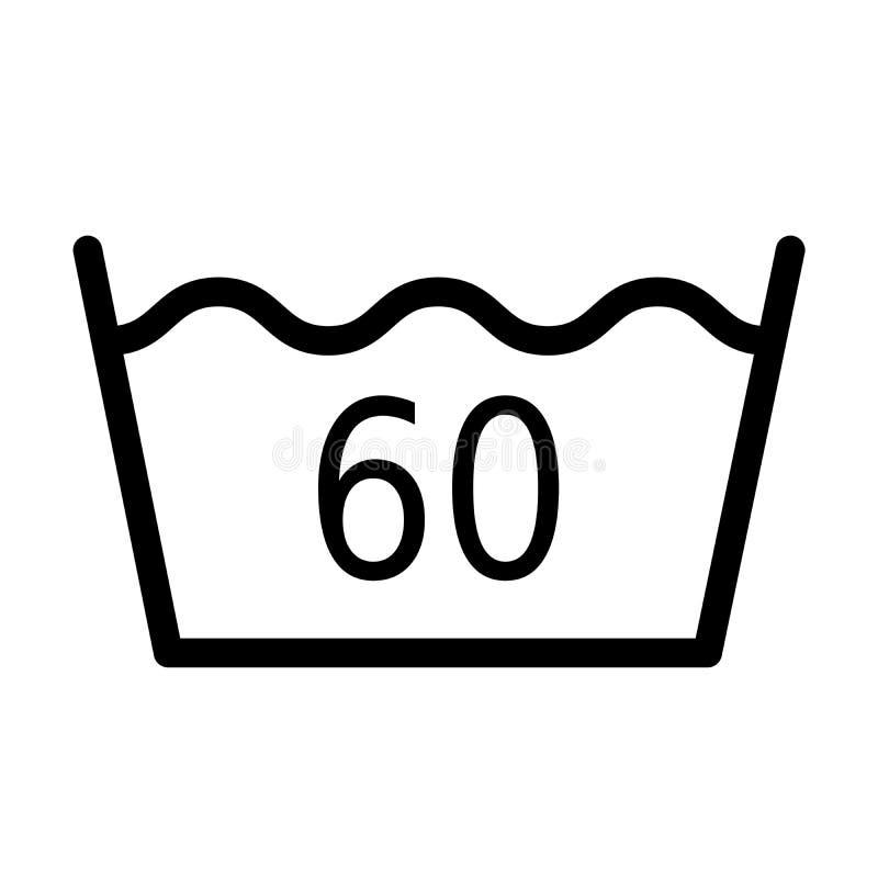 Temperatura da lavagem 60 graus de símbolo ilustração royalty free