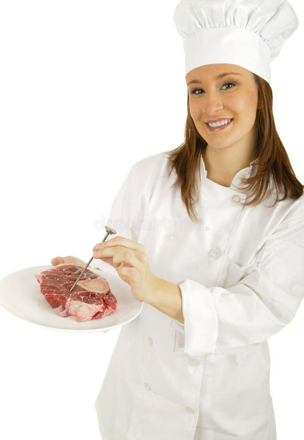 Temperatura della carne di misura fotografie stock