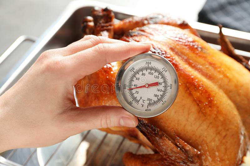 Temperatura di misurazione della donna di intero tacchino arrostito con il termometro di carne immagine stock libera da diritti