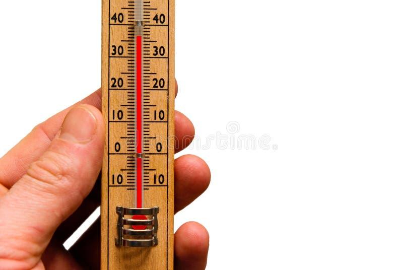 Temperatura, lendo o termômetro imagem de stock
