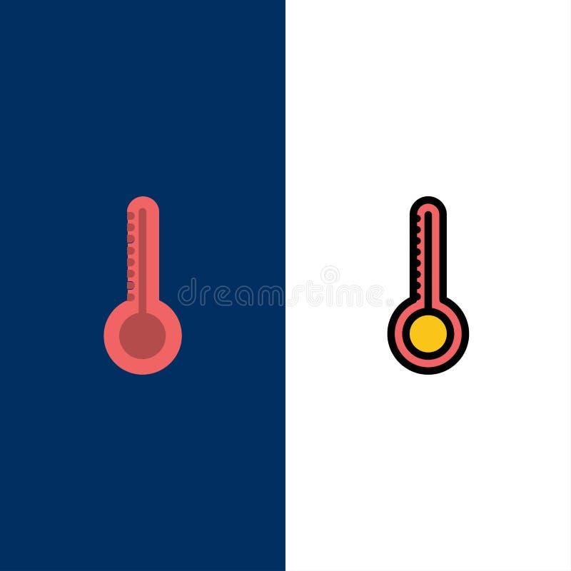 Temperatura, termometro, icone del tempo Il piano e la linea icona riempita hanno messo il fondo blu di vettore illustrazione vettoriale