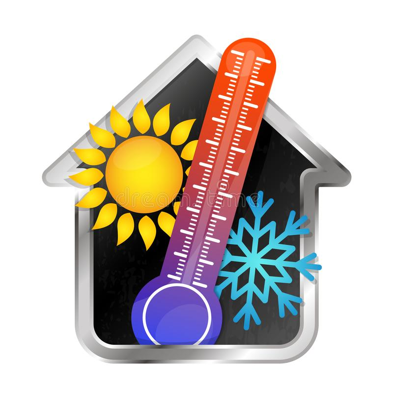 Temperature in the house air conditioning and heating. Symbol stock illustration