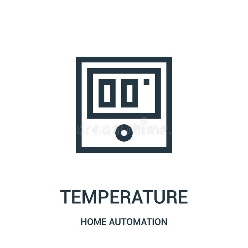temperature icon vector from home automation collection. Thin line temperature outline icon vector illustration. Linear symbol royalty free illustration