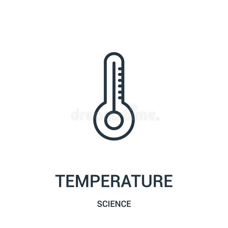 Temperature icon vector from science collection. Thin line temperature outline icon vector illustration. Linear symbol. For use on web and mobile apps, logo royalty free illustration