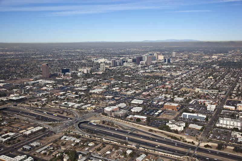 Temperature Inversion. Aerial view of a temperature inversion in Phoenix, Arizona stock photography