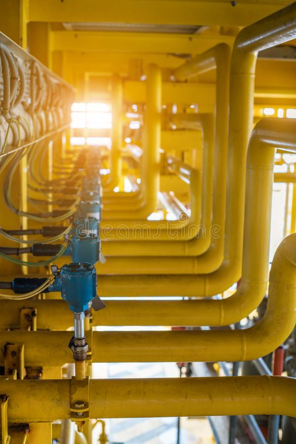 Control system at oil and gas construction platform, Temperature sensing element at pipe line to detect and sent data to PLC stock images