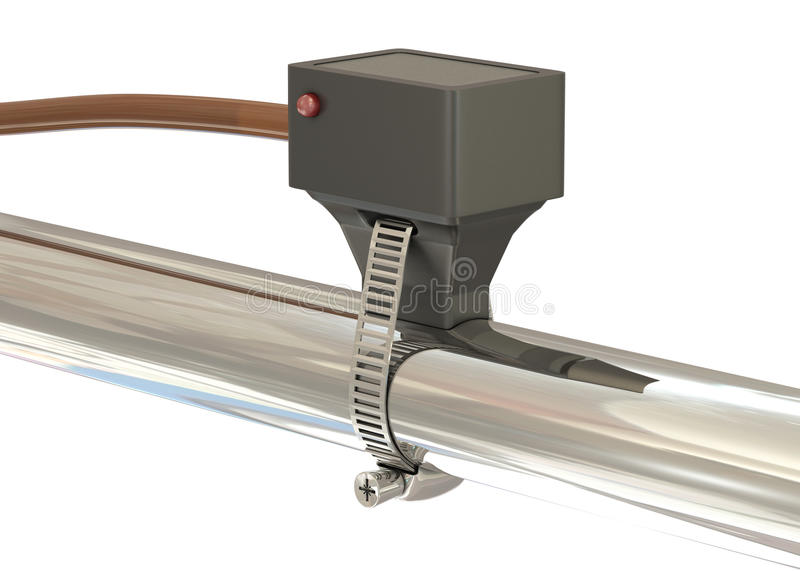 Temperature sensor with diode. On silver metal pipe stock illustration