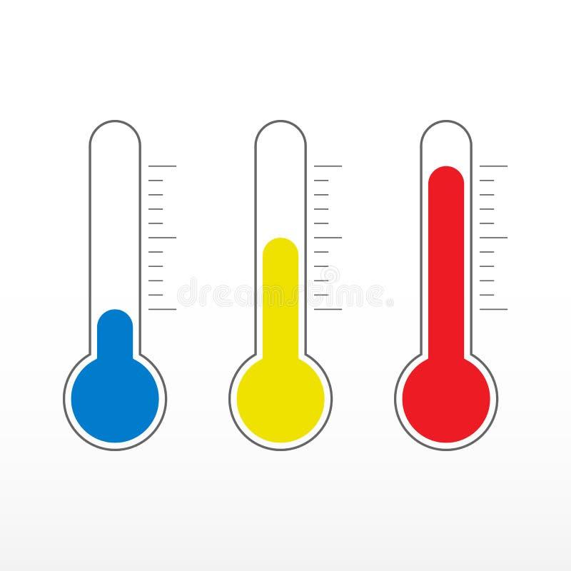 Temperaturowe ikony Termometr ikona ustawiająca w różnych kolorach Zimna, średniej i gorącej temperatura, ilustracja wektor