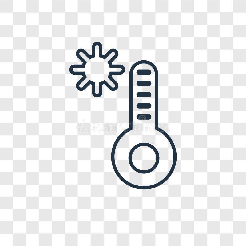 Temperaturowego pojęcia wektorowa liniowa ikona odizolowywająca na przejrzysty b ilustracja wektor