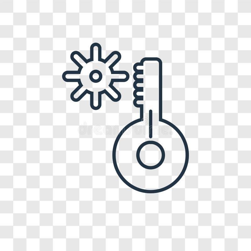 Temperaturowego pojęcia wektorowa liniowa ikona odizolowywająca na przejrzysty b ilustracji