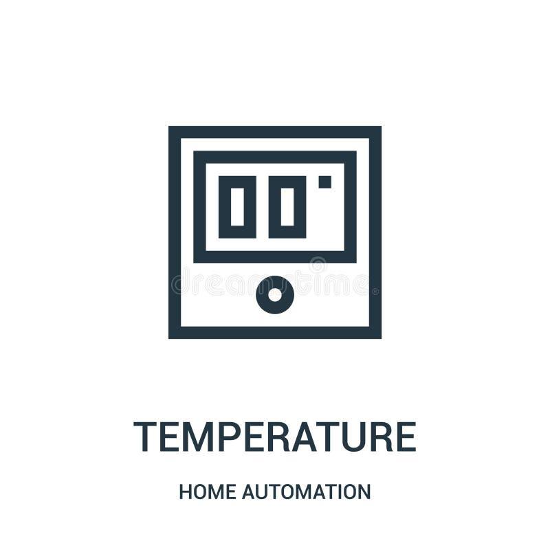 temperaturowy ikona wektor od domowej automatyzacji kolekcji Cienka kreskowa temperaturowa kontur ikony wektoru ilustracja Liniow royalty ilustracja