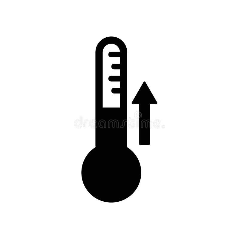 Temperaturowy ikona wektor odizolowywający na białym tle, temperatura znak, ciemny piktogram royalty ilustracja