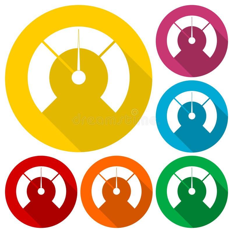 Temperaturowy wymiernik, Ciśnieniowy wymiernik, manometr ikony ustawiać z długim cieniem ilustracja wektor