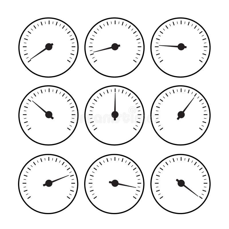 Temperaturowy wymiernik linii set Temperaturowy wymiernik royalty ilustracja