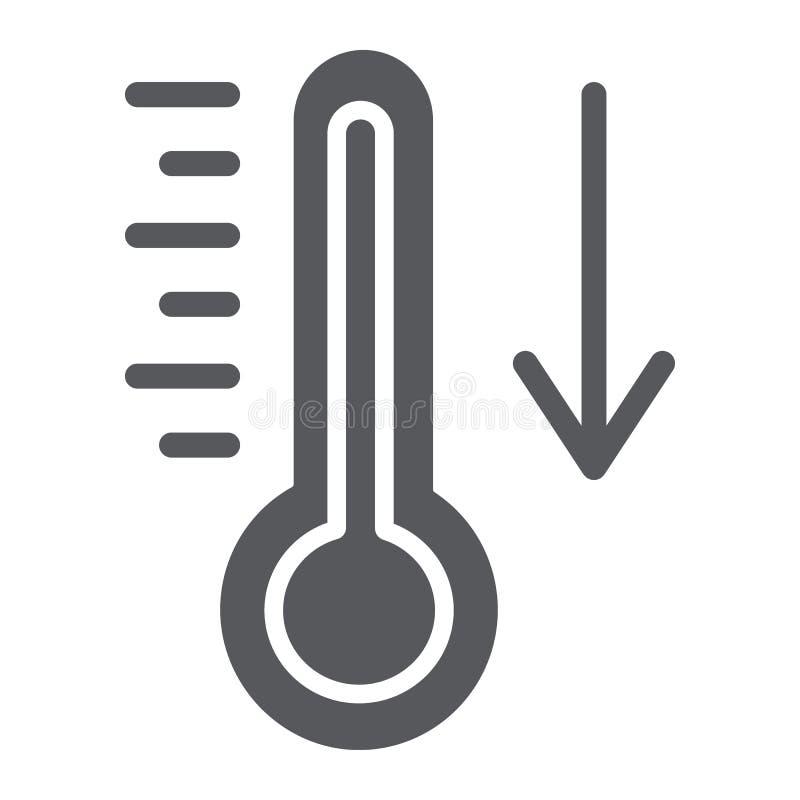 Temperatuur dalende glyph pictogram, thermometer en voorspelling, koud temperatuurteken, vectorafbeeldingen, een stevig patroon o stock illustratie