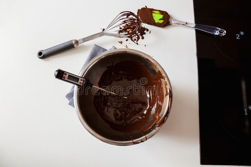 Tempering Chocolate stock photo